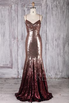 Bridesmaid Dress Rose Gold & Wine Ombre Sequin Dress Wedding Dress Long Spaghetti Strap Prom Dress Ruched V Neck Bodycon Party - Straps Prom Dresses, Sexy Dresses, Beautiful Dresses, Long Dresses, Bodycon Dress Parties, Party Dress, Sequin Rose, Rose Gold Gown, Rose Gold Long Dress