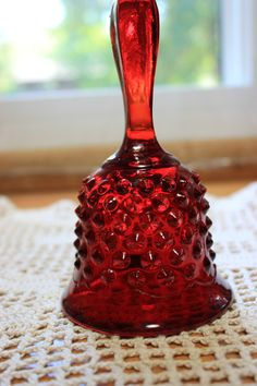 Fenton red hobnail glass bell by StonesThrowTreasures on Etsy