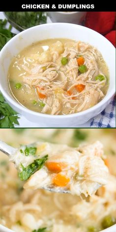 This easy chicken and dumplings recipe is one I inherited it from my grandparents and it's one of my favorite meals. Homemade Chicken And Dumplings, Chicken Dumplings, Healthy Soup Recipes, Vegetarian Recipes, Dim Sum, Stew And Dumplings, Chinese Dumplings, Goulash Recipes, Beef Goulash