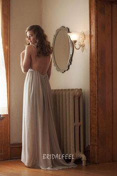 V-neck lace straps long chiffon evening dress, inverted basque waist shows feminine charm, spaghetti straps with lace strap on open back. Zip back.