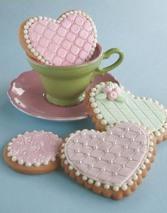 Embossed cookies    Sugar cookies decorated with MMF and embossed.