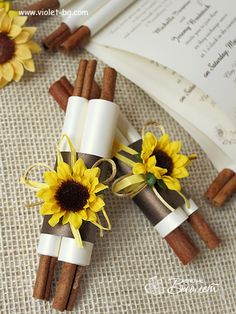 Handmade Sunflower Scroll Invitation