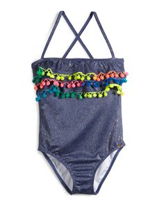 Pom-Pom One-Piece Swimsuit, Sparkle Denim, Girls' Size 2-10, Size: 6 - PilyQ