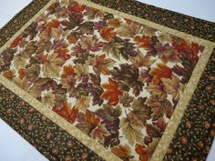 Fall/Autumn Table TopperLeaves Brown Rust by NowandThenQuilts, $30.00