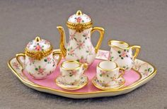 NEW LIMOGES BOX FRENCH LIMOGES FLORAL TEA SET 2 LIMOGES BOXES 5 MINIATURES TRAY (07/07/2015)