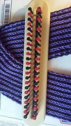 Loom Knit figure 8 vertical stripe scarf on long loom Beginning to End