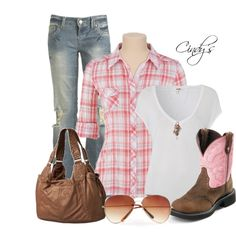 A fashion look from February 2012 featuring short sleeve shirts, flare jeans and cowgirl boots. Browse and shop related looks. Mode Country, Estilo Country, Country Girl Style, Country Fashion, My Style, Southern Style, Cute Country Outfits, Pretty Outfits, Fall Outfits