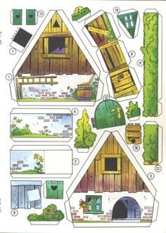 Fairy houses from vintage cornflake boxes 3d Paper, Origami Paper, Free Paper, Paper Doll House, Paper Houses, Cardboard Toys, Paper Toys, Cardboard Houses, House Template