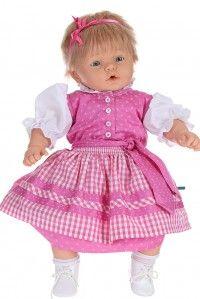 Einfach süß - das rosa #Babydirndl ist mit zarten Blüten besetzt und mit Perlmuttknöpfen verziert. Dazu passend erhalten Sie im Set die kleine Dirndlbluse mit Rüsche und Schleifchen am Arm.  www.trachten-riehl.de