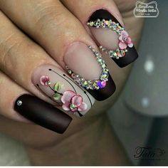 67 Nails Ideas for 2019 - Nails - Nageldesign Rhinestone Nails, Bling Nails, 3d Nails, Swag Nails, Fabulous Nails, Gorgeous Nails, Fancy Nails, Cute Nails, Nail Deco