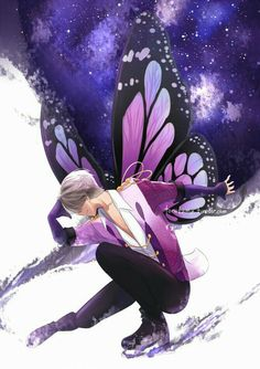 Victor Nikiforov, ice skating, butterfly, wings, cool, starry sky, night, galaxy; Yuri!!! on Ice