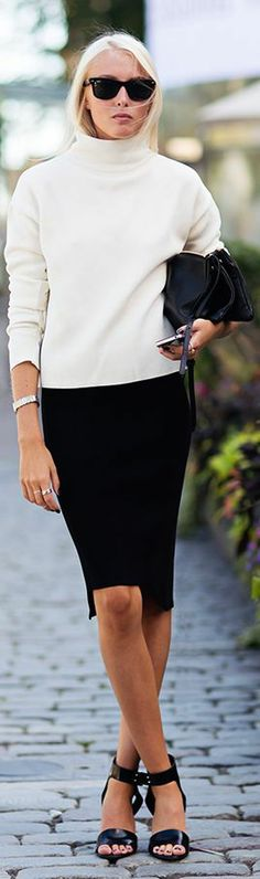 Chunky sweater & fitted pencil skirt...Fashionista: Black and White Women Style