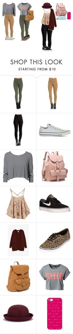 """meus looks"" by mayara-loca ❤ liked on Polyvore featuring Converse, NLY Trend, NIKE, Monki, Vans, Forever 21, ONLY, Casetify and Kipling"