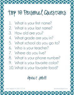 Ms. Lane's SLP Materials: Expressive Language: Top Ten Easy Personal Questions