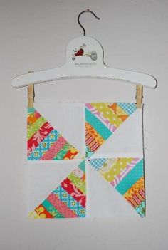 Striped windmill quilt block: great place for scraps! by may