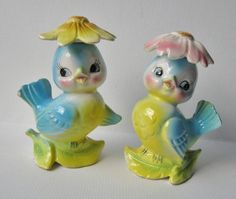 ⇢|| Vintage Anthropomorphic Lefton Bluebirds with Flower Hats ⇢|| More at: http://crazy4me.com/2011/10/1950s-lefton-norcrest-bluebird-collectibles/