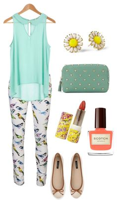 i usually dont like print pants but this outfit is cute.