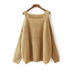 SheIn(sheinside) Khaki Off the Shoulder Knit Loose Sweater (£18) ❤ liked on Polyvore featuring tops, sweaters, khaki, sweater pullover, long sleeve pullover sweater, loose-knit sweater, brown knit sweater and knit sweater