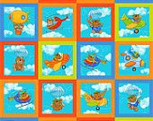 "Baby Zoom Flying~ Squares~Panel~24"" x 44"" ~ by Northcott~ Cotton Fabric~ Fast Shipping CH258"