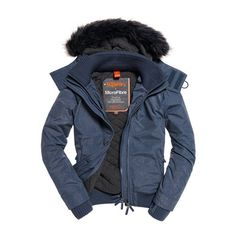 Superdry Microfibre Fur Hooded Windbomber Jacket ($125) ❤ liked on Polyvore featuring men's fashion, men's clothing, men's outerwear, men's jackets, navy, mens short sleeve jacket, mens zip up jackets, mens navy quilted jacket and mens quilted bomber jacket