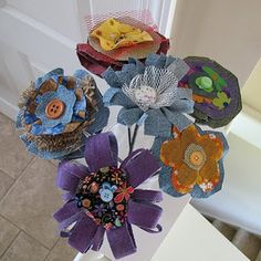 Denim Fabric Flowers - Crafts by Amanda