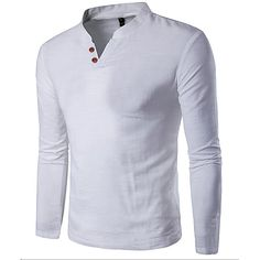 Men's Sports Casual/Daily Simple All Seasons T-shirt,Solid Stand Long Sleeves Cotton Thin 2017 - $9.99