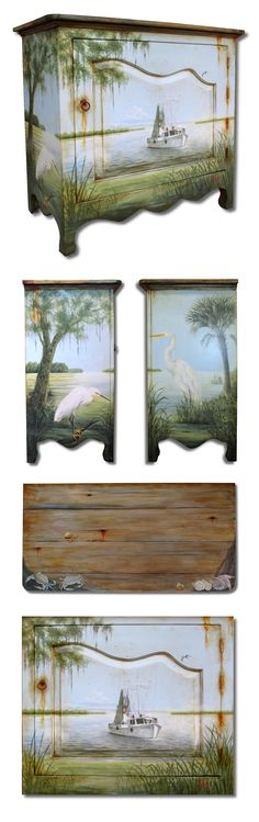 """Hand painted """"Shrimp boat and Lowcountry"""" scene chest. Old furniture makeovers and redo."""