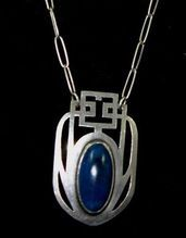 Intriguing ARTS and CRAFTS Lapis Sterling Necklace Book Piece!