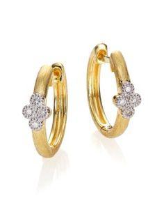 "JUDE FRANCES Provence Diamond & 18K Yellow Gold Small Hoop Earrings/0.65"". #judefrances #earrings/0.65"""