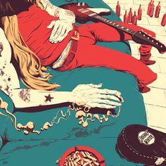 A tribute to Johnny Winter - Illustration by Juan Esteban Rodríguez, via Behance