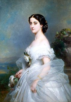 1860s White off-the-shoulder evening gown - Madame Adalina Patti 1868 by Winterhalter