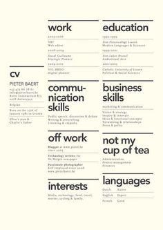 resume broken up into categories