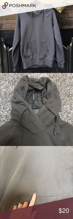 🌷H&M shawl collar hoodie Grey hoodie with a shawl collar. Perfect condition except for the spot (see pic, it is from melted butter) size 6 in H&M fits a size S best...I have it listed as a S. H&M Tops Sweatshirts & Hoodies