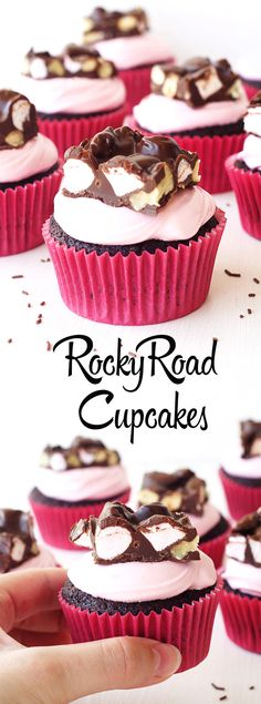 Perfect Rocky Road cupcakes with pink marshmallow frosting and piece of Nutella Rocky Road Bark | Sweetest Menu