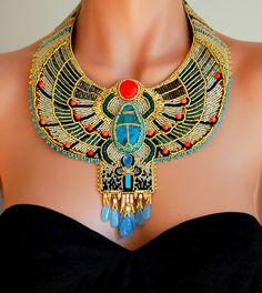 Egyptian Scarab Necklace - Bead Embroidered Necklace, Statement Necklace, Collar Necklace