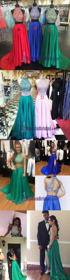 Gorgeous beading High Neck Sparkly Red Blue Green Sparkly Shining Prom Dresses, PD0625