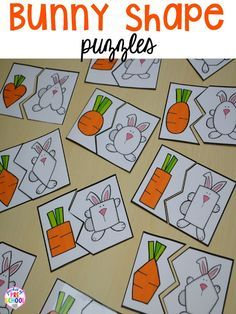 Easter Bunny themed shape puzzles. Plus peeps 5 senses and taste test FREEBIE. For preschool, pre-k, and kindergarten.