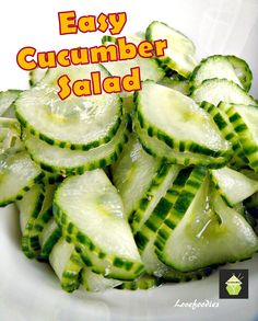 The Best Easy Cucumber Salad. Great Flavors and always a hit! Very refreshing taste and crunch with a pickled flavor Easy Cucumber Salad is a super delicious, fresh tasting dish. Easy Cucumber Salad, Cucumber Salad Vinegar, Vinegar Cucumbers, Cucumbers And Onions, Cucumber Recipes, Salad Recipes, Pickling Cucumbers, Detox Recipes, Marinated Cucumbers
