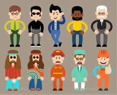 Set of Flat Men in Different Professions