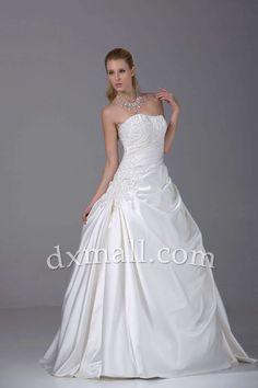 A-line Wedding Dresses Strapless Sweep/Brush Train Satin Ivory 010010100775