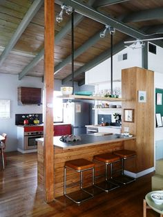 open kitchen idea for vaulted ceilings