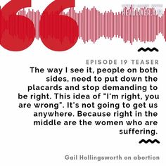 This was a key moment for me in Gail's interview. I had never thought of how both sides (pro-life and pro-choice) could come together and help those who have gone through abortion and are struggling. Listen carefully to this excerpt then head over to the website for the full interview. It's pretty powerful 💜   #abortion #podcast #UncomfortableThePodcast #shame #vulnerability #abortionrights Pro Choice, Pro Life, Has Gone, Vulnerability, Teaser, Interview, How To Get, Key, In This Moment