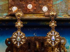 Earrings with Swarovski, Pearl and Gold Fill, Beaded by Esther Marker