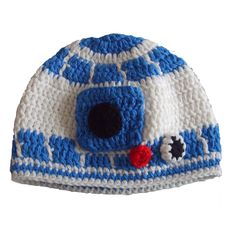 Crochet Baby R2D2 robot Hat  I need one in my size!