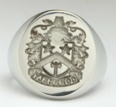 Family Crest Ring Reversed - Each My Lineage, Inc. Sterling Silver Family Crest Ring is individually made through a meticulous die cutting and production process. Its closed back construction creates a weight and quality feel like nothing you have experienced. Provide your last name and country of origin and we will research your family's coat of arms.
