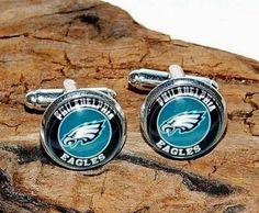 Philadelphia Eagles football logo cufflinks jewelry NFL football Eagles sports #Handmade