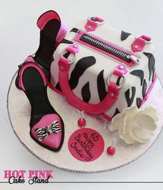 Hot PInk and Zebra Print Purse Birthday Cake with High Heel Shoes made of fondant - made by Hot Pink Cake Stand in Wilmington NC