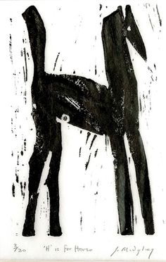 Julia Midgely RE, H is for Horse, linocut. Contact info@banksidegallery.com for further details. See www.banksidegallery.com for other prints and paintings.