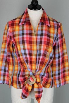 Lafayette 148 NY Pink Yellow Orange Brwn Blue Plaid Linen Tie Front Top Blouse 6 #Lafayette148NewYork #Blouse