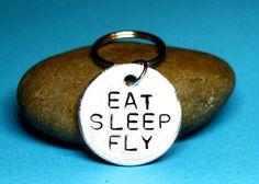 Pilot gift, Flying gift, Eat sleep fly, Aviation gift, Pilot keyring, Aviation keyring, gift for pilot, flying keychain, Airplane keyring